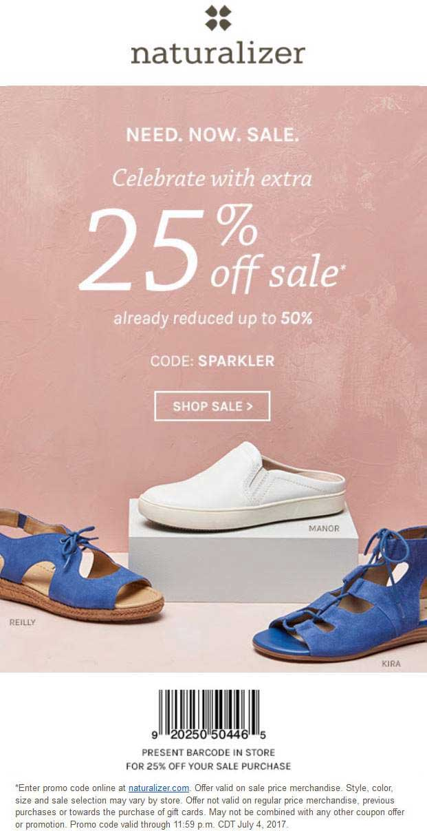 Naturalizer Coupon March 2019 Extra 25% off sale items at Naturalizer, or online via promo code SPARKLER