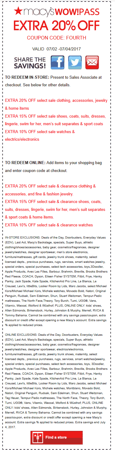 Macys Coupon March 2019 Extra 20% off at Macys, or online via promo code FOURTH