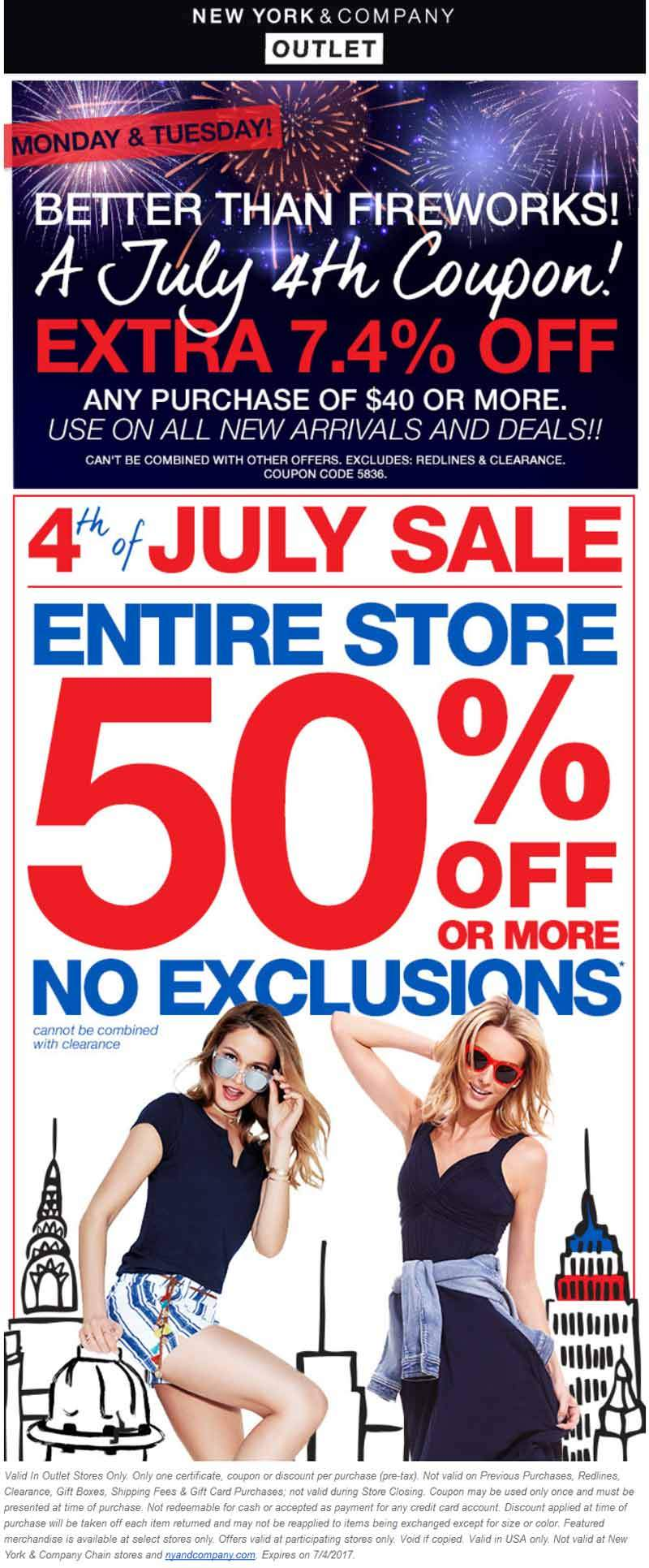 New York & Company Coupon August 2018 Everything is 50% off & more at New York & Company Outlet locations
