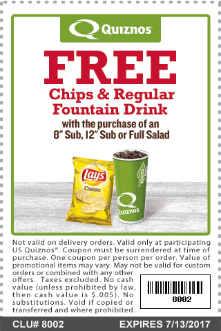 Quiznos Coupon December 2018 Chips & drink free with your sub at Quiznos