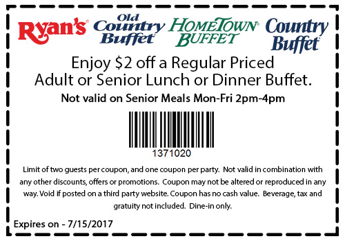 HometownBuffet.com Promo Coupon $2 off lunch buffet at Ryans, HomeTown Buffet & Old Country Buffet