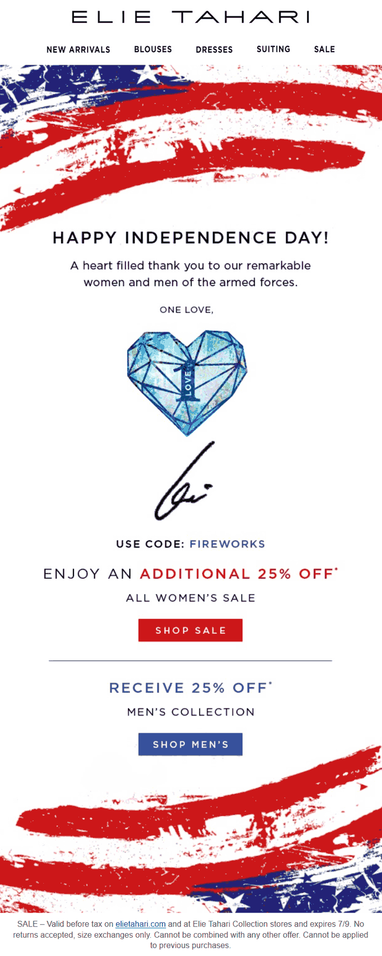 Elie Tahari Coupon August 2018 Extra 25% off sale items at Elie Tahari, or online via promo code FIREWORKS