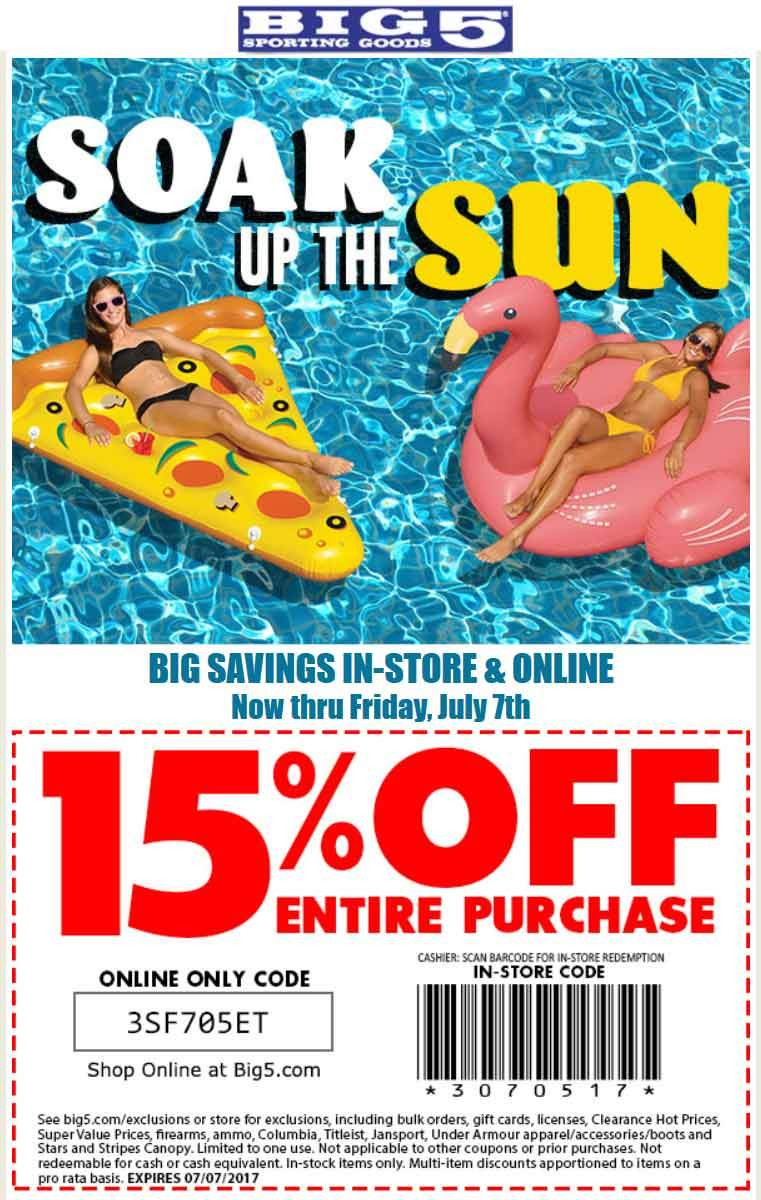 Big 5 Coupon August 2018 15% off everything at Big 5 sporting goods, or online via promo code 3SF705ET