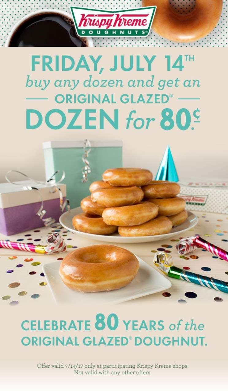 Krispy Kreme Coupon January 2018 12 doughnuts for .80 cents the 14th at Krispy Kreme