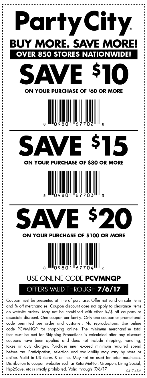 Party City Coupon October 2018 $10 off $60 & more today at Party City, or online via promo code PCVMNQP