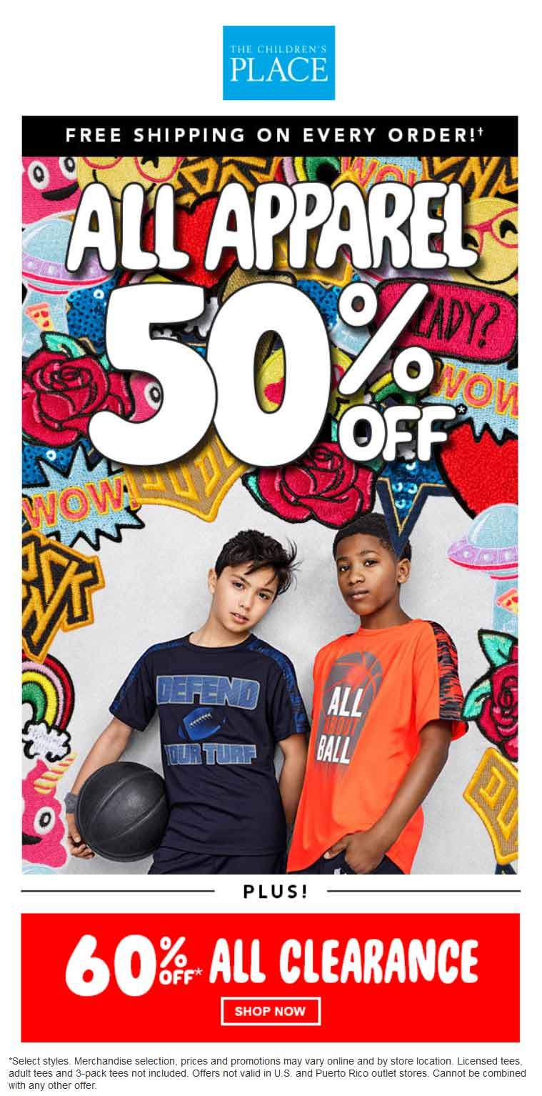 Childrens Place Coupon March 2019 50% off apparel at The Childrens Place, ditto online