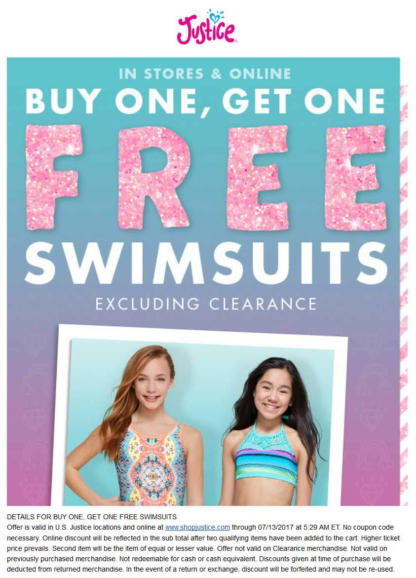 Justice Coupon August 2018 Second swimsuit free at Justice, ditto online