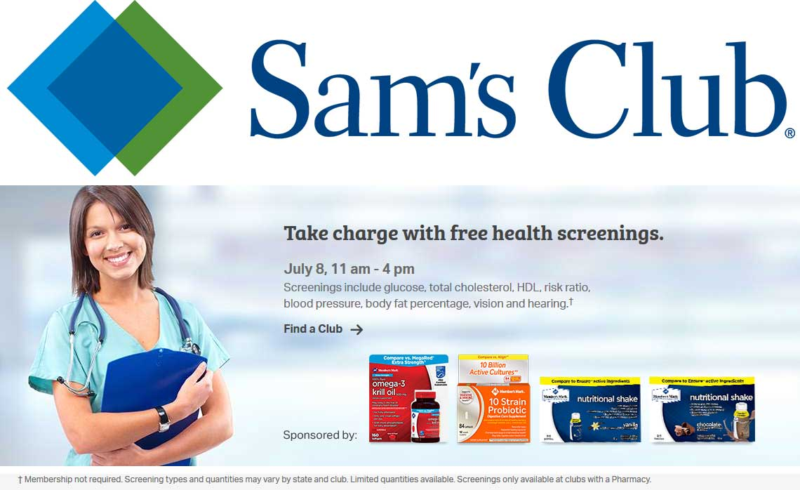 Sams Club Coupon August 2018 Free health screening today til 4p at Sams Club, no membership required