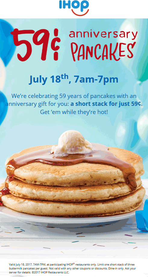 IHOP Coupon March 2018 .59 cent pancakes the 18th at IHOP
