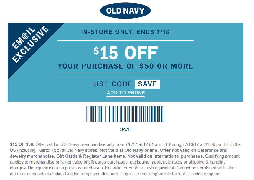 Old Navy Coupon December 2018 $15 off $50 today at Old Navy