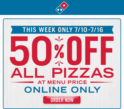 Dominos Coupon March 2018 50% off all pizzas online at Dominos, no code needed