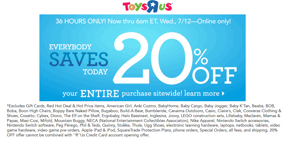 Toys R Us Coupon April 2019 20% off everything online today at Toys R Us, no code needed