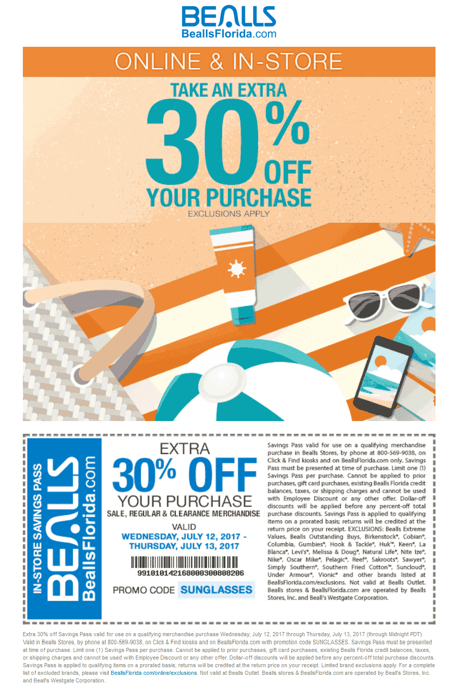 Bealls Coupon September 2018 Extra 30% off today at Bealls, or online via promo code SUNGLASSES