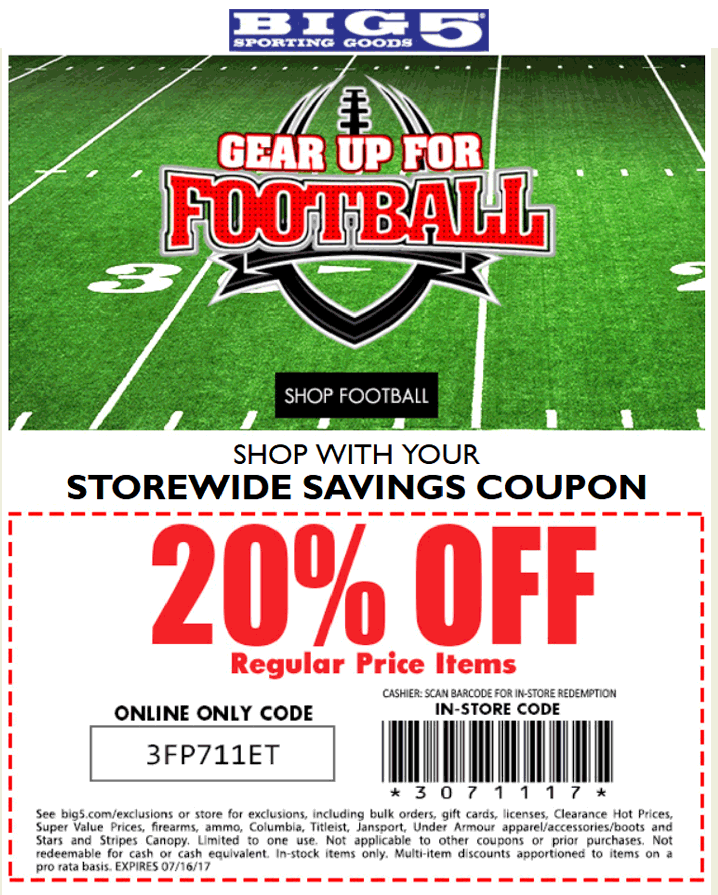 Big 5 Coupon October 2018 20% off at Big 5 sporting goods, or online via promo code 3FP711ET