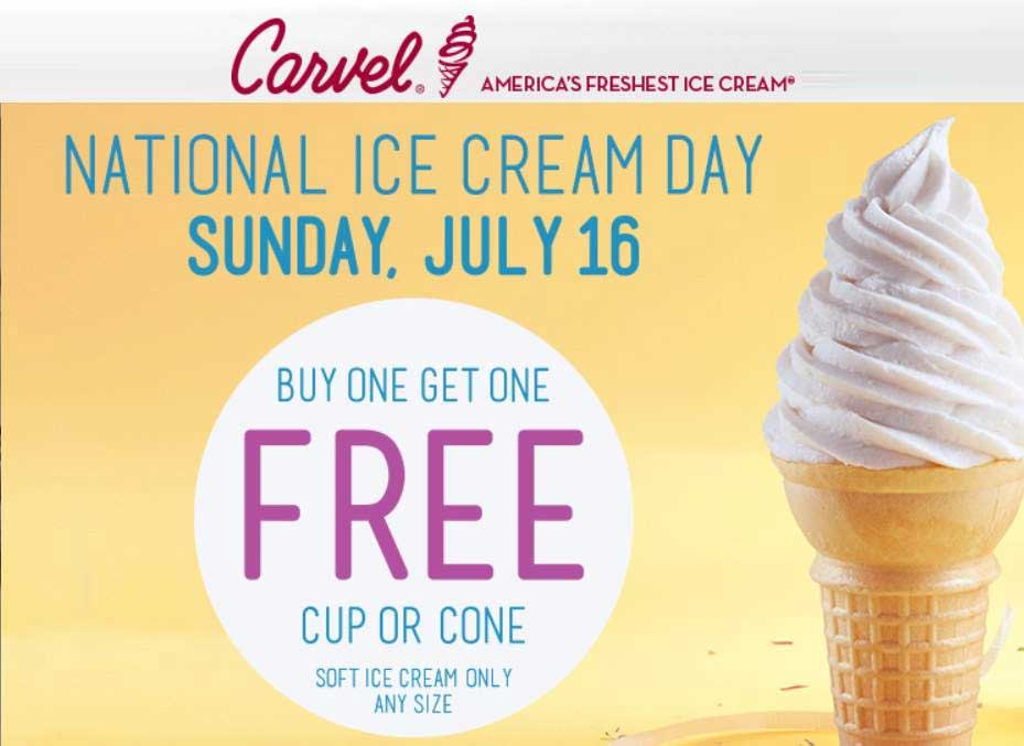 Carvel Coupon August 2018 Second ice cream cone free Sunday at Carvel