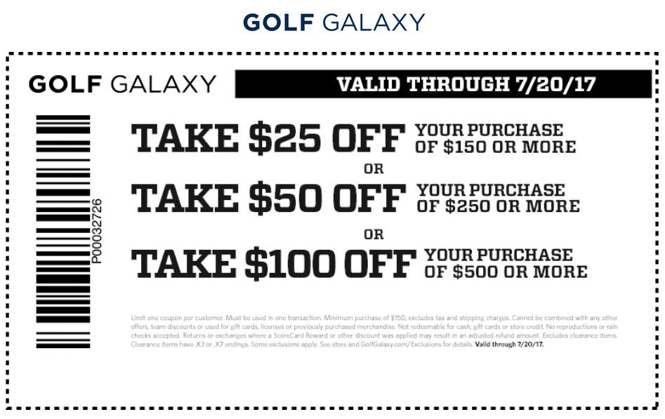 Golf Galaxy Coupon October 2018 $25 off $150 & more at Golf Galaxy
