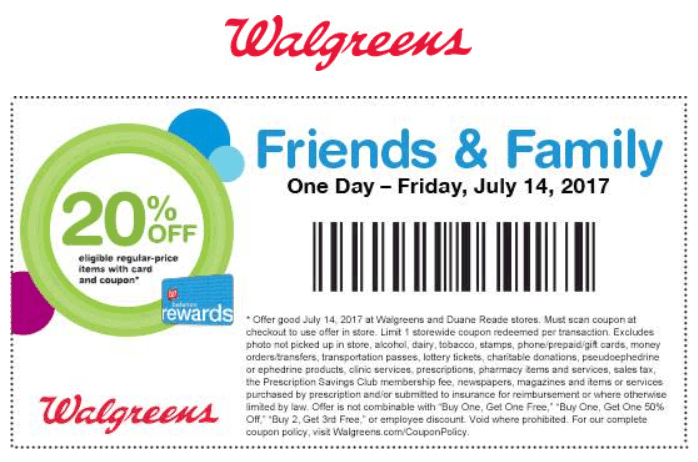 Walgreens.com Promo Coupon 20% off Friday at Walgreens