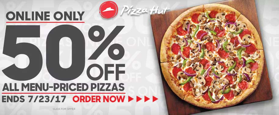 Pizza Hut Coupon October 2018 50% off pizzas online at Pizza Hut
