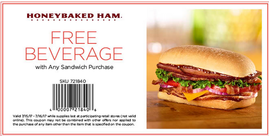 HoneyBaked Coupon July 2017 Free beverage with your sandwich at HoneyBaked Ham
