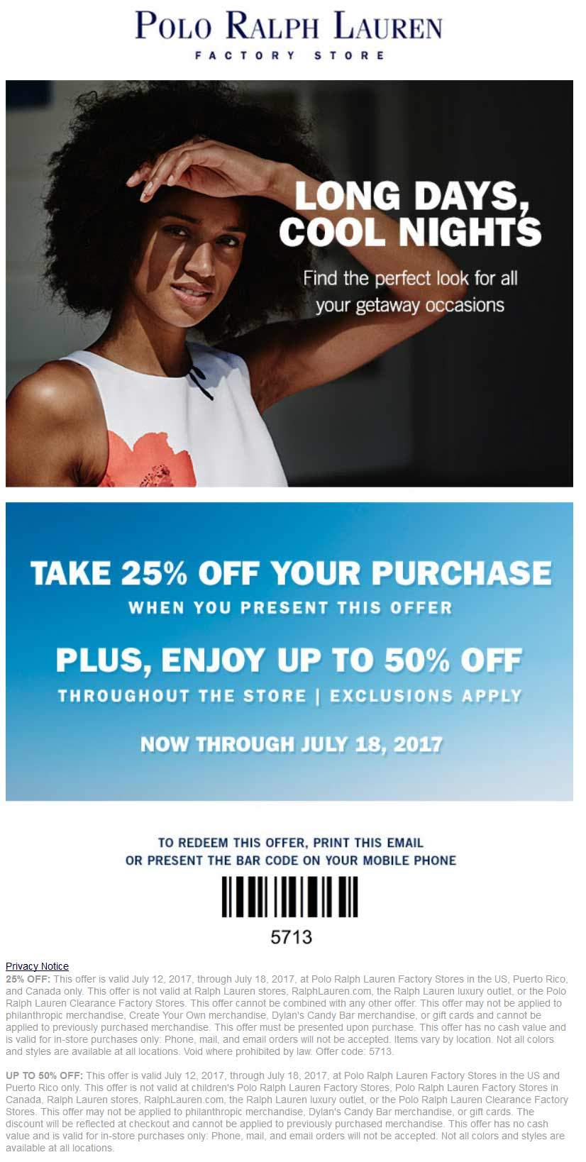 Polo Ralph Lauren Factory Coupon March 2018 25% off at Polo Ralph Lauren Factory stores