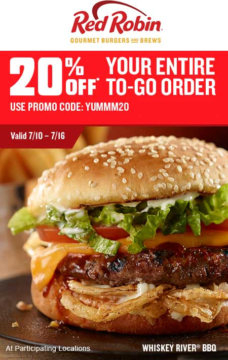 Red Robin Coupon March 2018 20% off takeout at Red Robin restaurants via promo code YUMMM20
