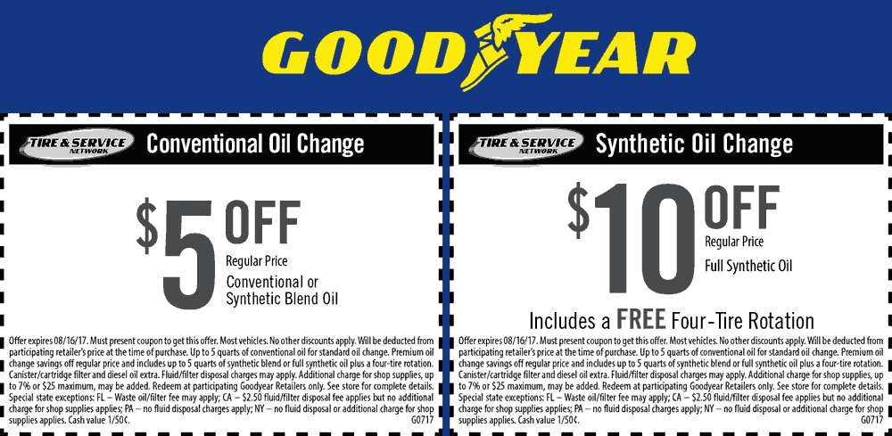 Goodyear Coupon April 2018 $5-$10 off an oil change at Goodyear