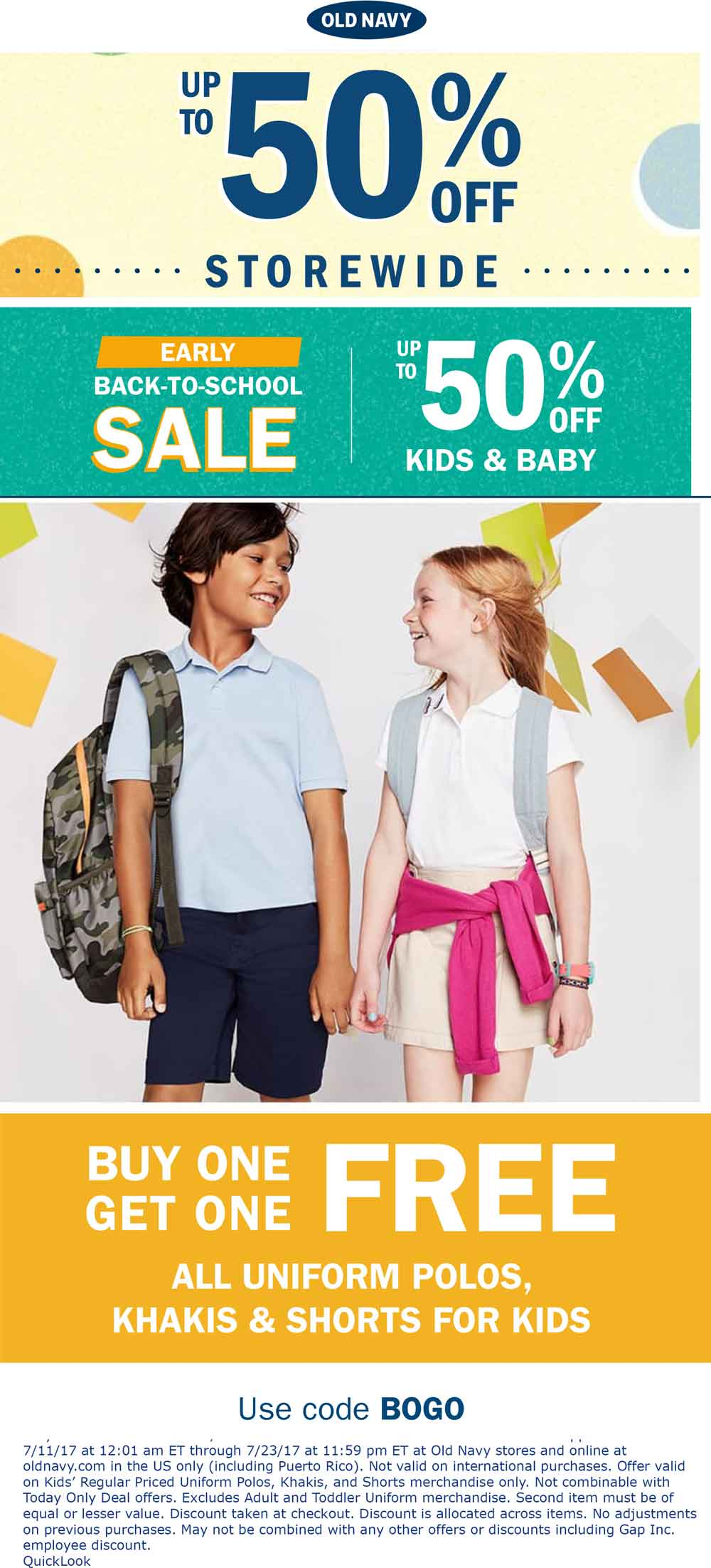 Old Navy Coupon October 2018 Second kids uniform free & more at Old Navy, or online via promo code BOGO