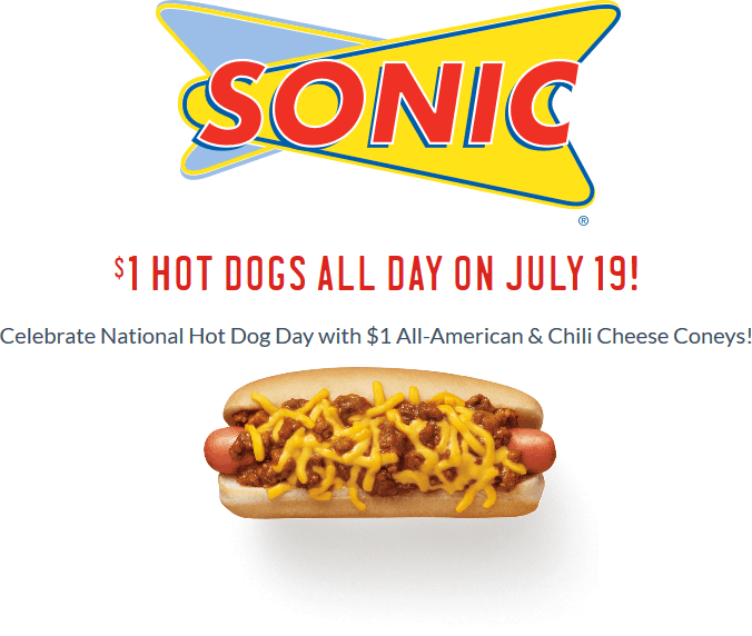 Sonic Drive-In Coupon January 2018 $1 hot dogs Wednesday at Sonic Drive-In restaurants