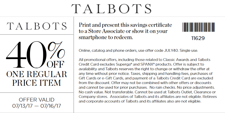 Talbots Coupon December 2018 40% off a single item today at Talbots, or online via promo code JULY40