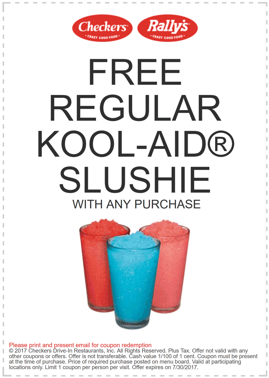 Checkers.com Promo Coupon Free slushie with any order at Rallys & Checkers restaurants