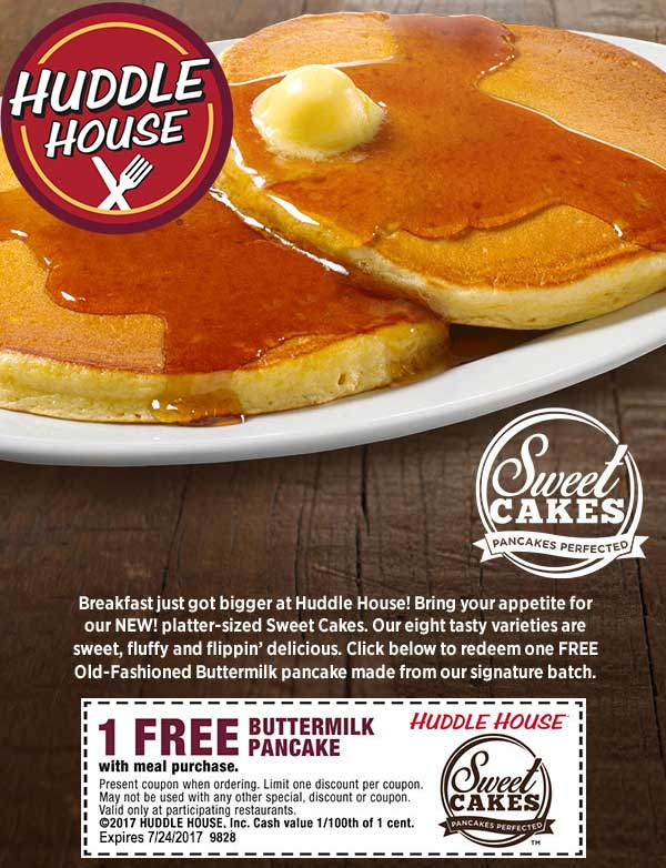 Huddle House Coupon October 2017 Free pancake with your meal at Huddle House