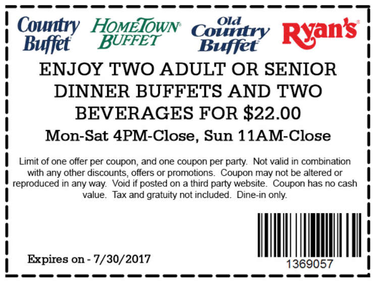 Old Country Buffet Coupon August 2018 2 dinner buffets + drinks = $22 at Ryans, HomeTown Buffet & Old Country Buffet