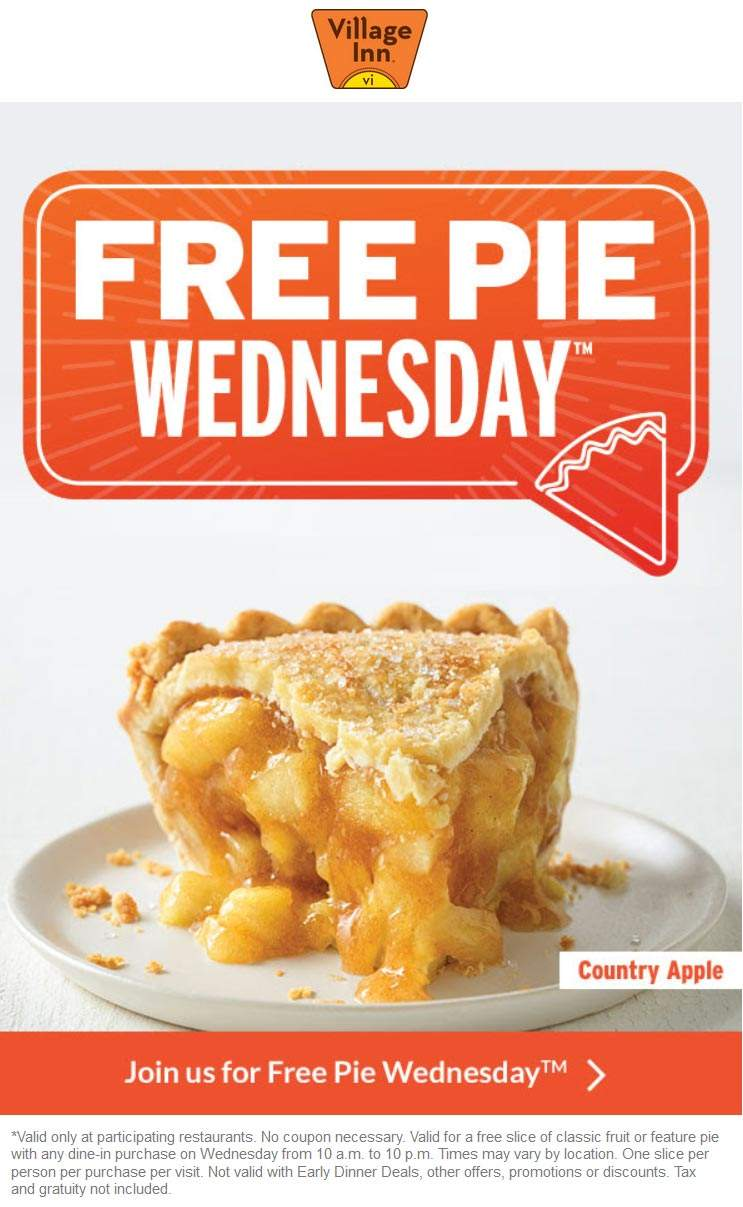 Village Inn Coupon October 2019 Free pie with any order today at Village Inn