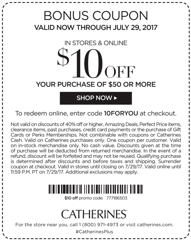 Catherines coupon code