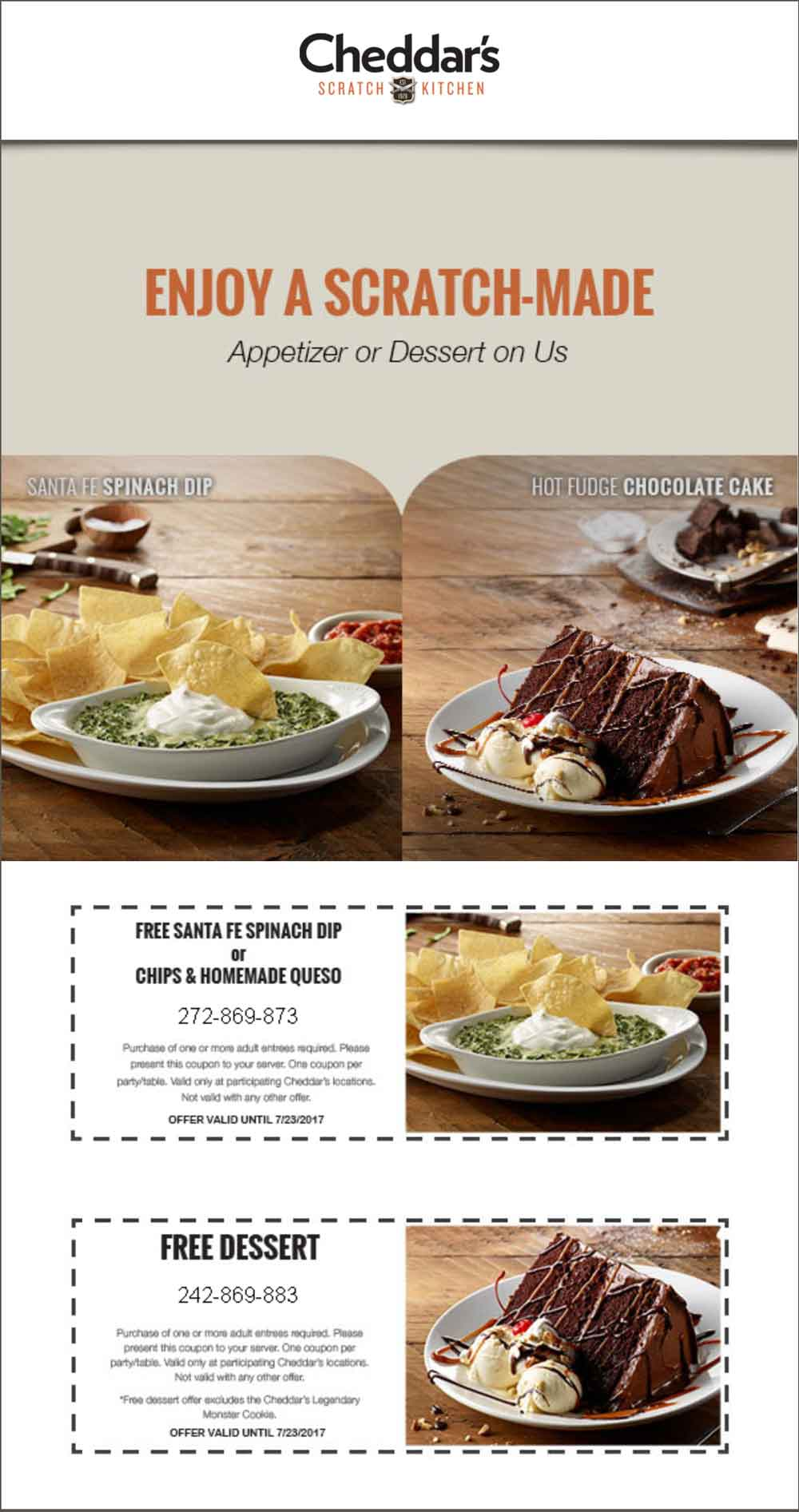 CheddarsScratchKitchen.com Promo Coupon Free spinach dip or dessert at Cheddars Scratch Kitchen
