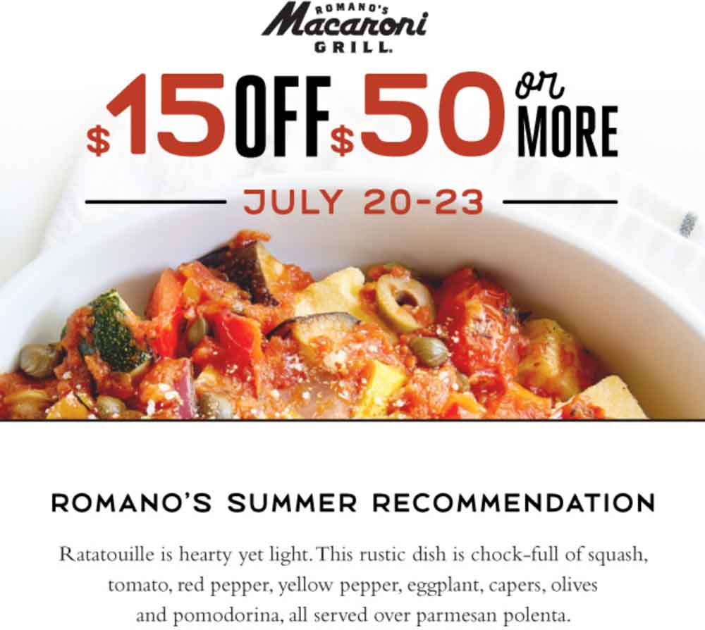 Macaroni Grill Coupon December 2018 $15 off $50 at Macaroni Grill