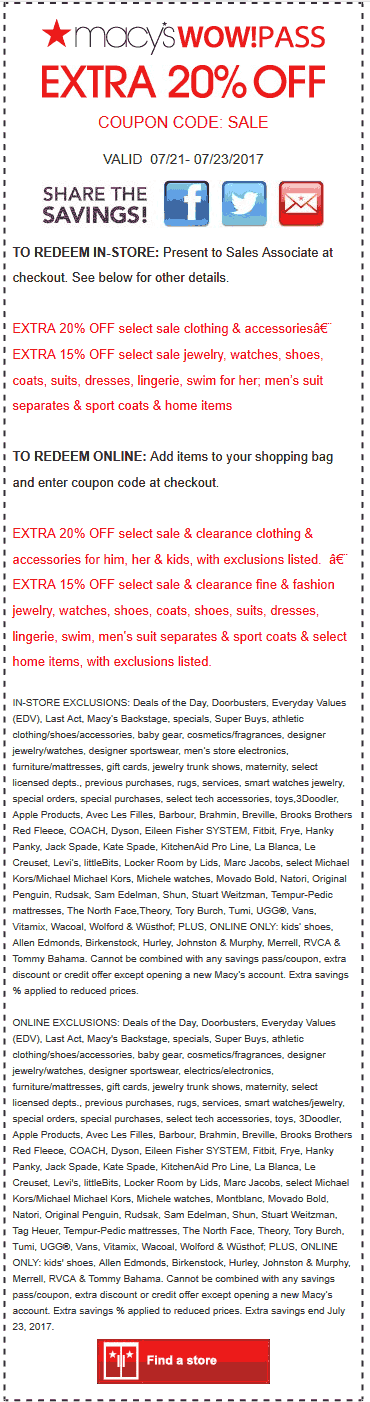 Macys Coupon December 2018 Extra 20% off at Macys, or online via promo code SALE