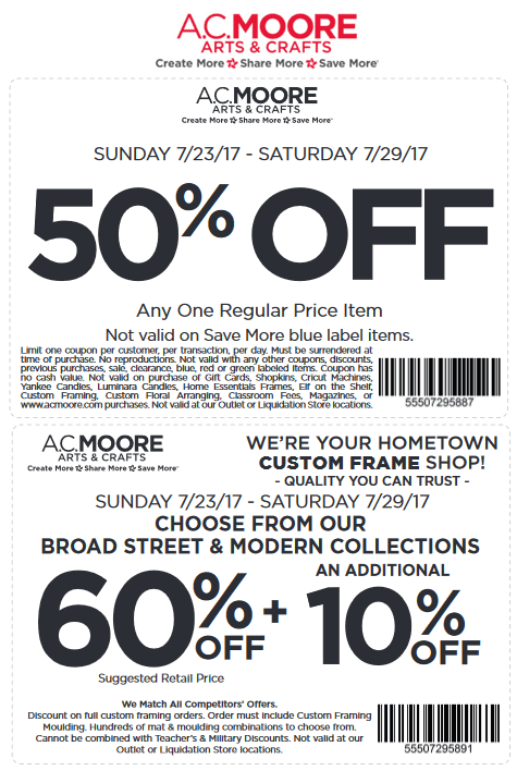 A.C. Moore Coupon October 2018 50% off a single item & more at A.C. Moore