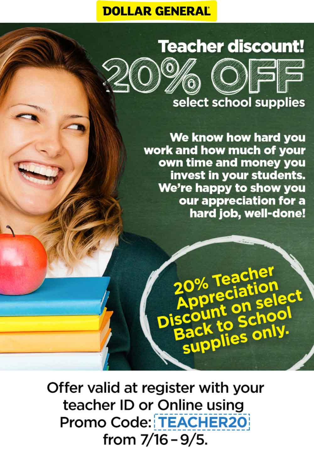 Dollar General Coupon January 2019 Teachers knock 20% off school supplies at Dollar General, or online via promo code TEACHER20