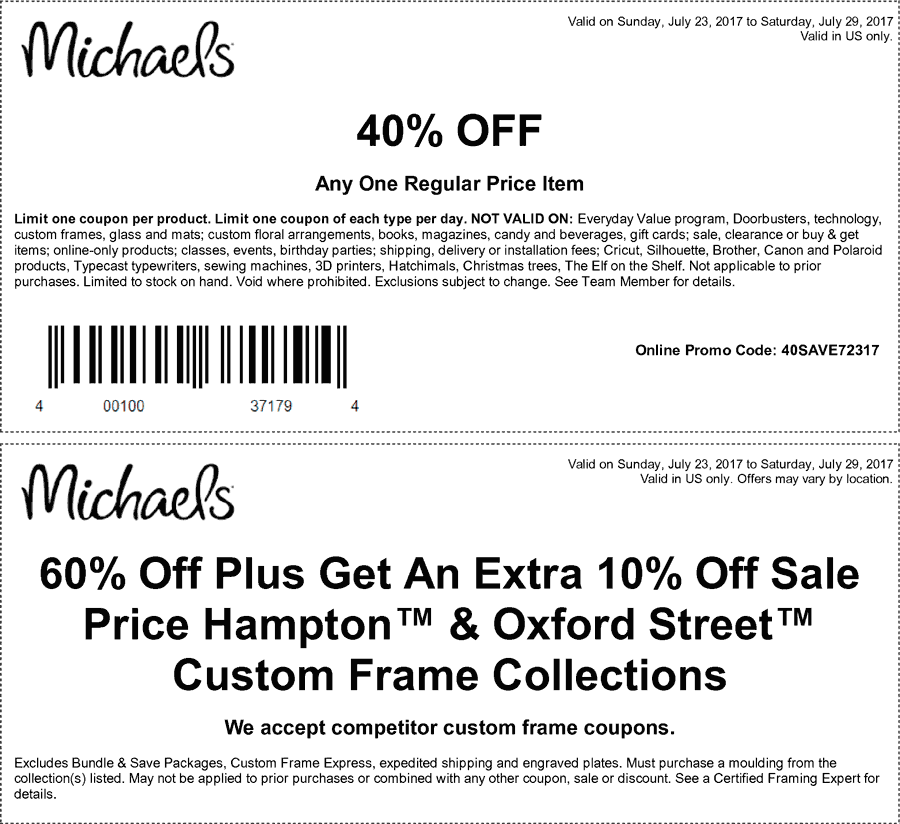 Michaels.com Promo Coupon 40% off a single item at Michaels, or online via promo code 40SAVE72317