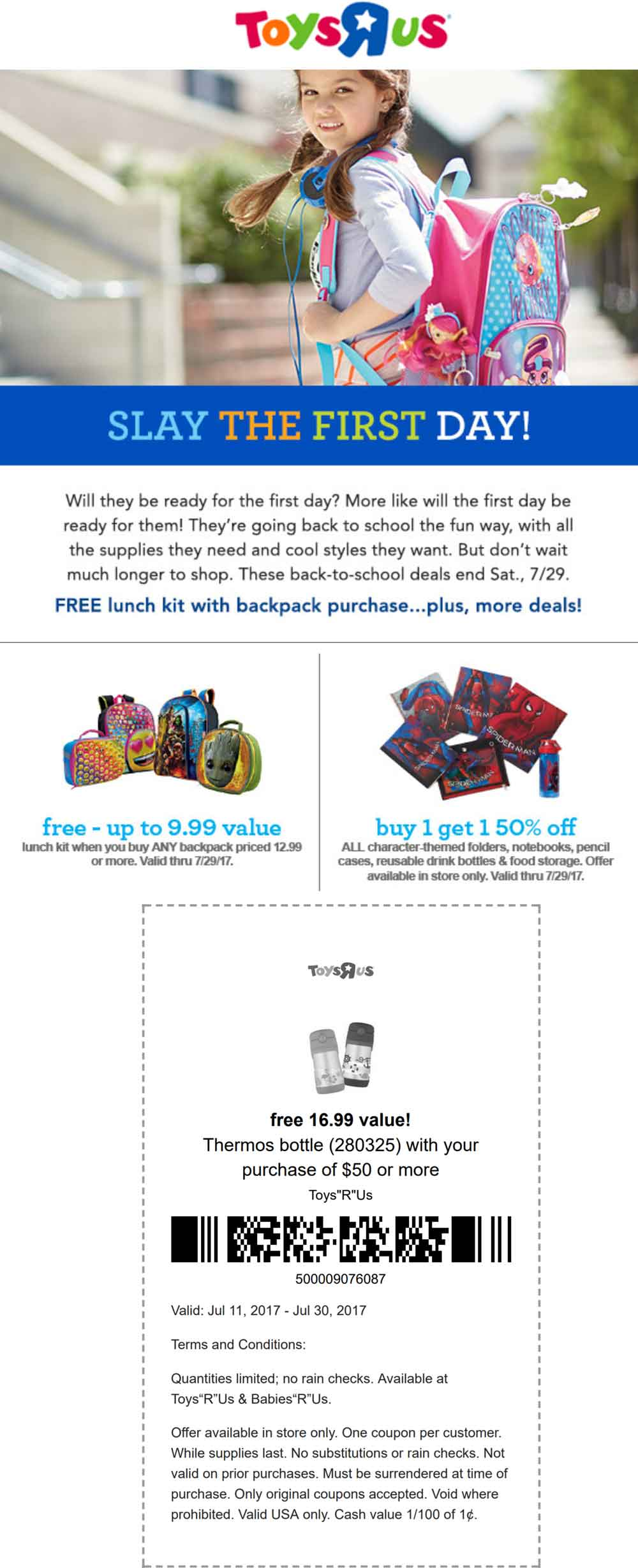 Toys R Us Coupon August 2018 $17 thermos free with $50 spent, free lunch box with any backpack at Toys R Us