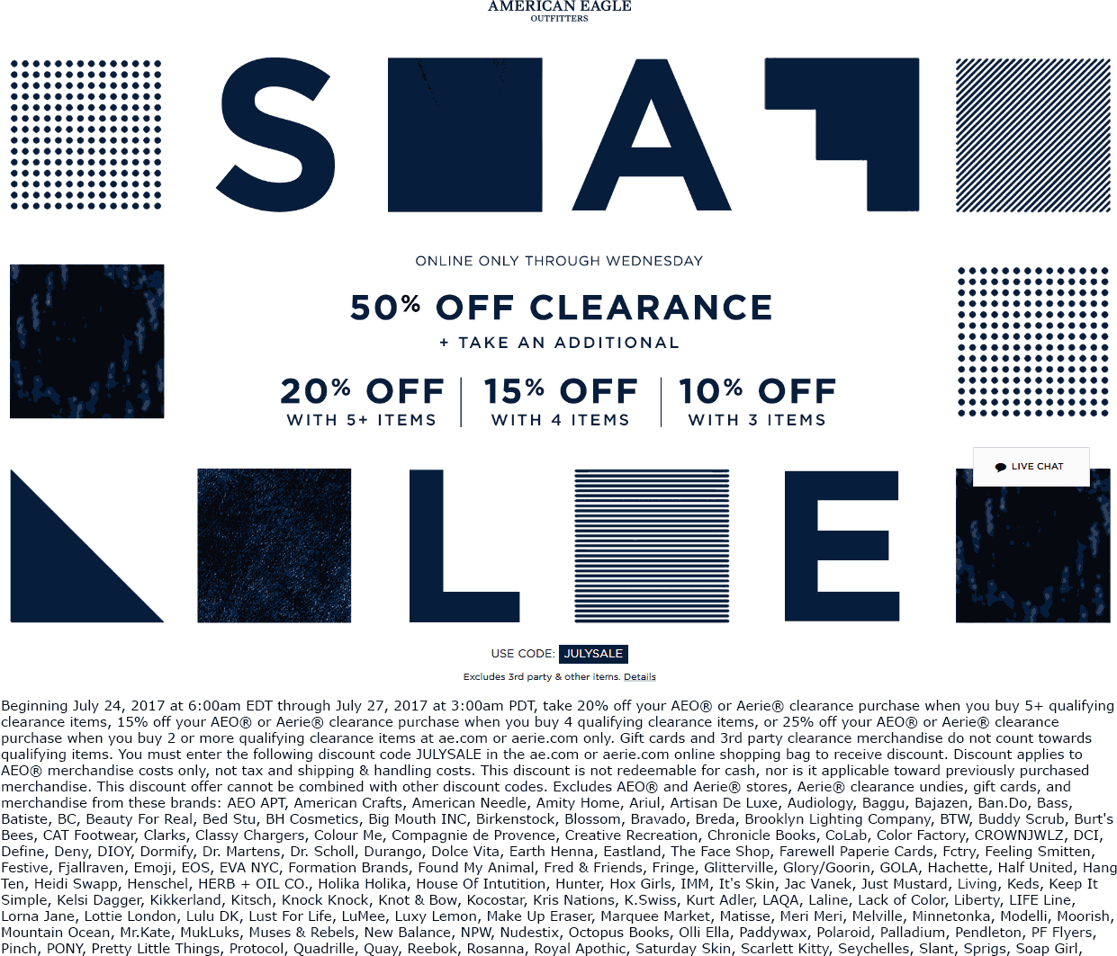 American Eagle Outfitters Coupon January 2018 10-20% off 3+ items, extra 50% off clearance online at American Eagle Outfitters