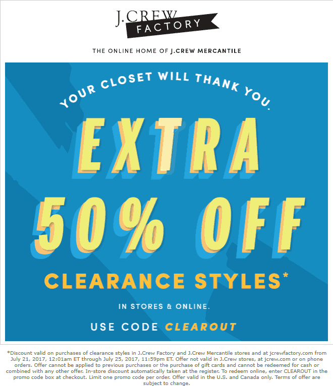 J.Crew Factory Coupon January 2018 Extra 50% off clearance at J.Crew Factory, ditto online
