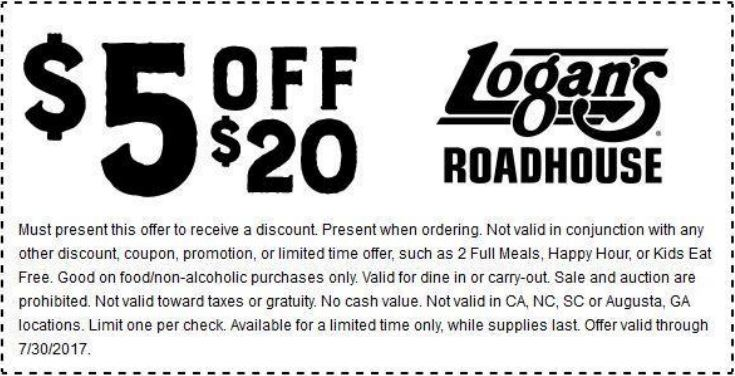 Logans Roadhouse Coupon April 2019 $5 off $20 at Logans Roadhouse restaurants