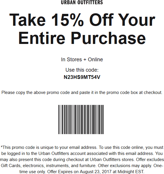 Urban Outfitters Coupon October 2018 Extra 15% off at Urban Outfitters