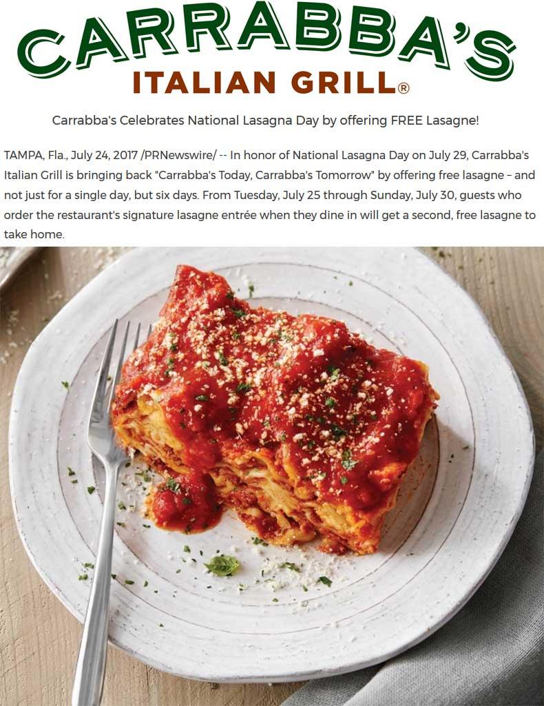 Carrabbas Coupon December 2018 Second lasagna free as takeout at Carrabbas restaurants