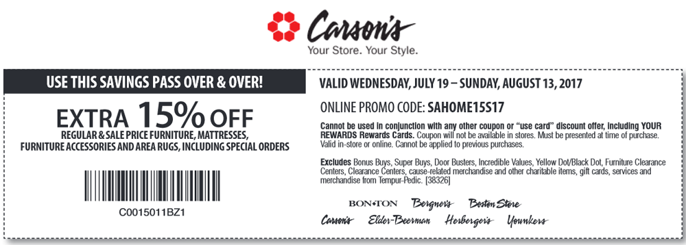 BonTon.com Promo Coupon 15% off furniture & mattresses at Carsons, Bon Ton & sister stores, or online via promo code SAHOME15S17
