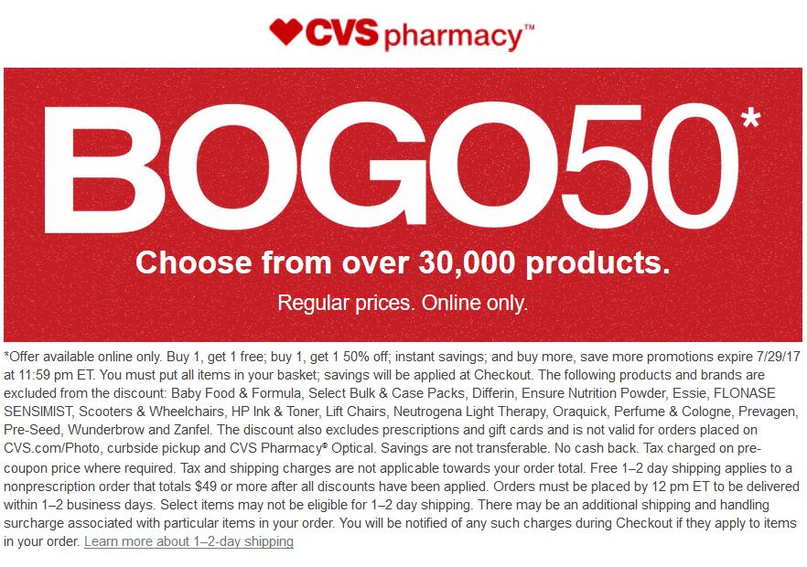 CVSPharmacy.com Promo Coupon Second item 50% off online at CVS Pharmacy
