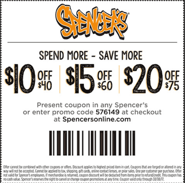 Spencers.com Promo Coupon $10 off $40 & more at Spencers, or online via promo code 576149