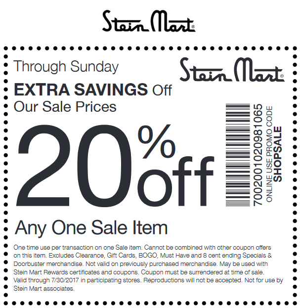 Stein Mart Coupon August 2018 20% off a single sale item at Stein Mart, or online via promo code SHOPSALE